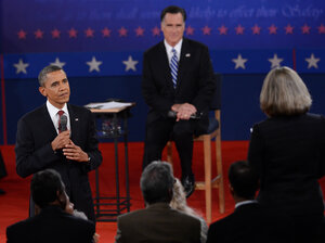President Obama and Mitt Romney answer questions from undecided voters at the second presidential debate, at Hofstra University on Long Island, N.Y., last Tuesday.