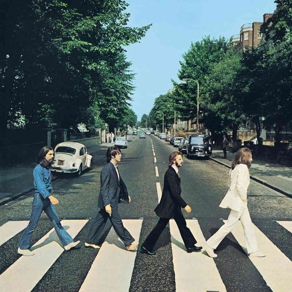 The iconic cover of The Beatles' Abbey Road.