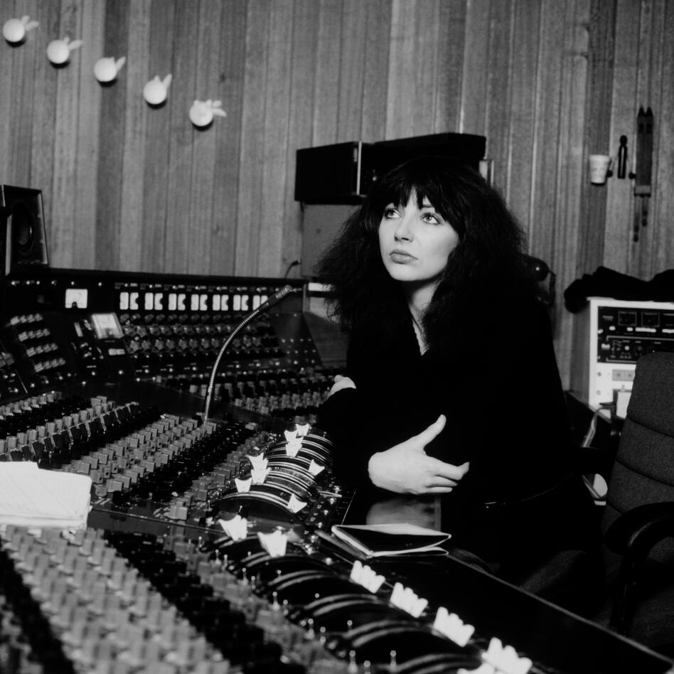 Kate Bush in Studio 2's control room at a Mark IV desk. (Bloomsbury Publishing)
