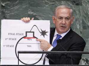 At the U.N. Sept. 27, Israeli Prime Minister Benjamin Netanyahu used a graphic to show how far he says Iran will be by mid-2013 in a
