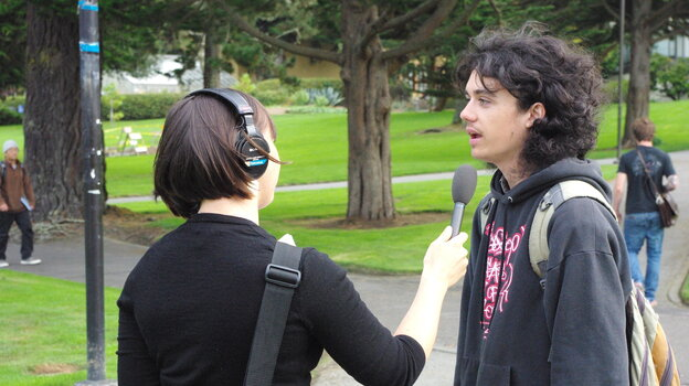 San Francisco State University student Dariel Maxwell discusses the election with KQED's Lillian Mongeau.