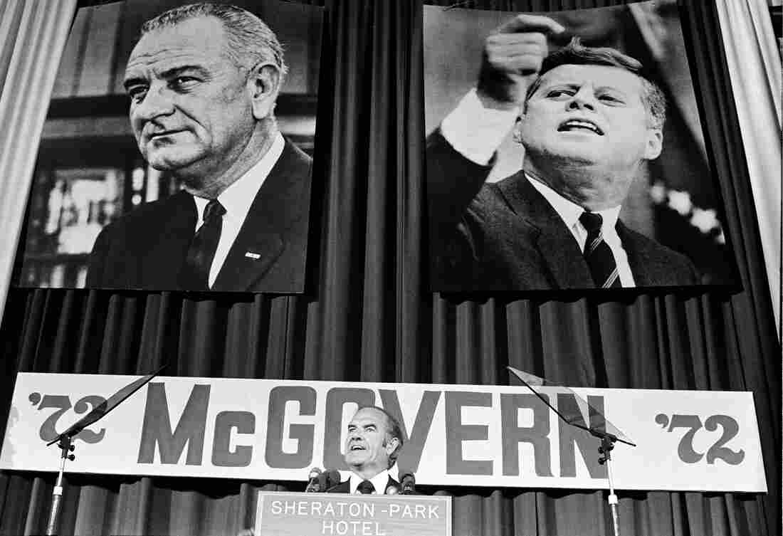 Sen. George McGovern introduces Sargent Shriver as his new vice presidential running mate to the Democratic National Committee in Washington in 1972.