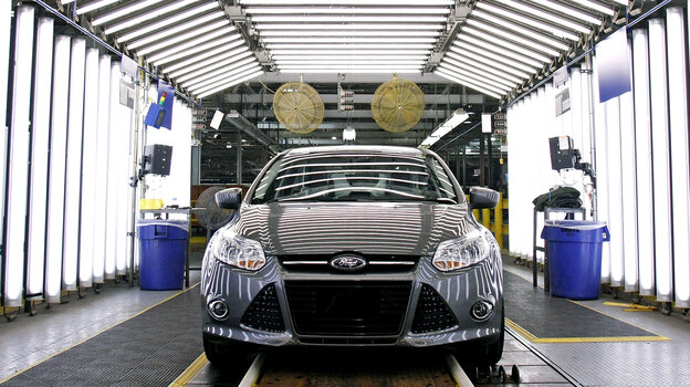 "A Ford Focus on the assembly line in Wayne, Mich. ""We have a lot going for us; we've got our problems, but others have problems that are as bad or worse,"" says Nariman Behravesh, chief economist at IHS Global Insight."