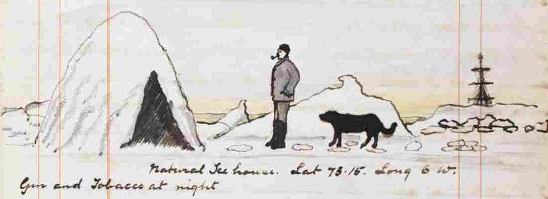 """On Thursday, July 29, 1880, Doyle wrote, """"Came across a most extraordinary natural snow house, about 12 feet high, shaped like a beehive with a door and a fine room inside in which I sat. Traveled a considerable distance, and would have gone to the Pole, but my matches ran short and I couldn't get a smoke."""""""