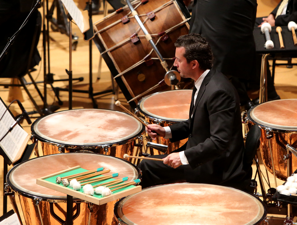 Percussionist Joseph Pereira with his array of mallets for the Rite of Spring.