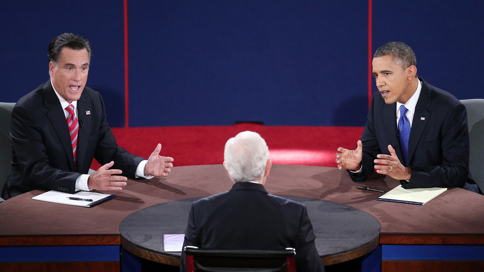 Mitt Romney and President Obama debate Monday in Boca Raton, Fla., with moderator Bob Schieffer. (Getty Images)
