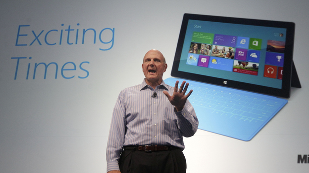 Microsoft CEO Steve Ballmer speaks at a Microsoft event in San Francisco in July. This week, Microsoft launches Windows 8, a radical redesign of its operating system, as well as a new set of tablet computers. (AP)