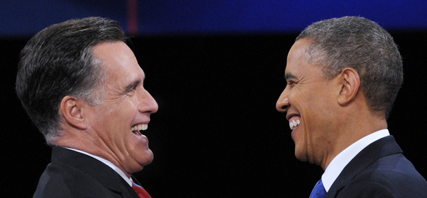 President Obama and Republican presidential candidate Mitt Romney shake hands following the third and final presidential debate at Lynn University in Boca Raton, Fla. Tuesday.