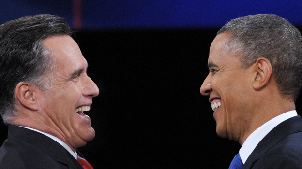 President Obama and Republican presidential candidate Mitt Romney shake hands following the third and final presidential debate at Lynn University in Boca Raton, Fla. Tuesday. (AFP/Getty Images)