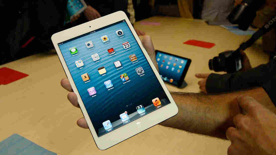 The new iPad Mini is displayed after its unveiling at an Apple event in San Jose, Calif., on Tuesday.
