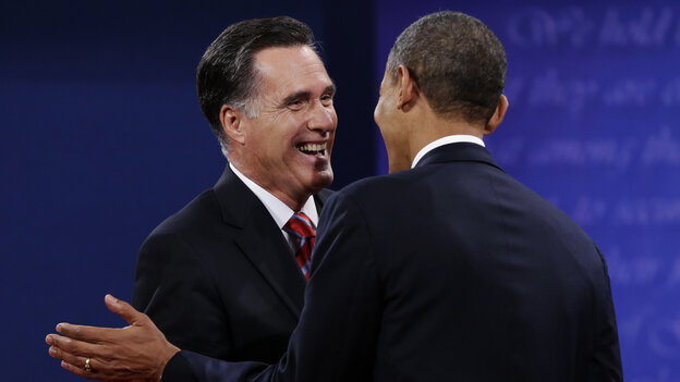 Mitt Romney shakes hands with President Obama after their final debate Monday in Boca Raton, Fla.