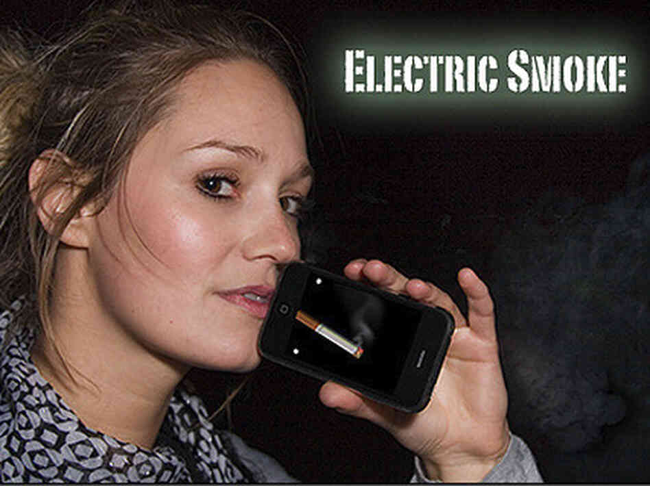 The iPhone app Electronic Smoke simulates smoking by detecting sound waves. When you breathe into the microphone, the virtual cigarette burns.