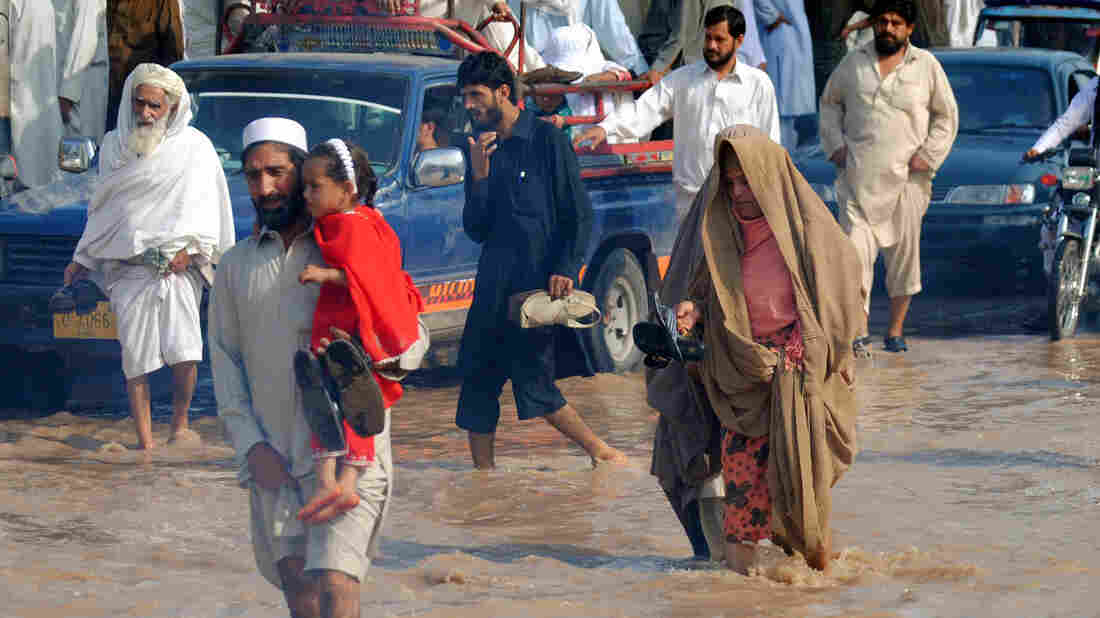 Aug. 28: A flooded road in Peshawar, Pakistan.