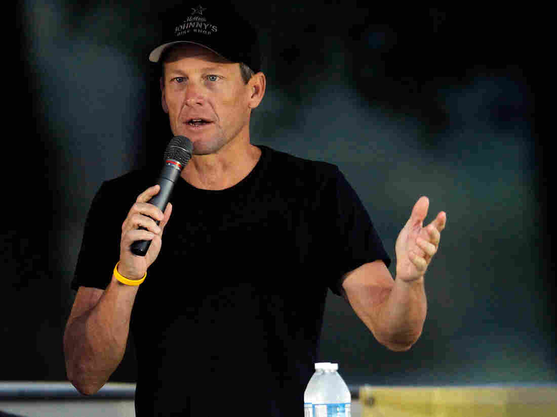 Lance Armstrong at a  LIVESTRONG Challenge Ride on Sunday in Austin, Texas.