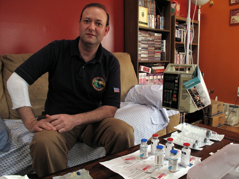 Matthew Spencer receives intravenous infusions of a potent antifungal drug at home twice a day for an indefinite period to treat a suspected case of fungal infection linked to a contaminated steroid drug that came from New England Compounding Center in Massachusetts.