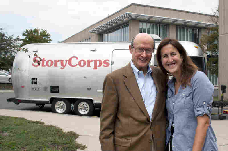 Following his interview session, Norton Bernstein, left, shares a smile with his daughter, Liz Norton.