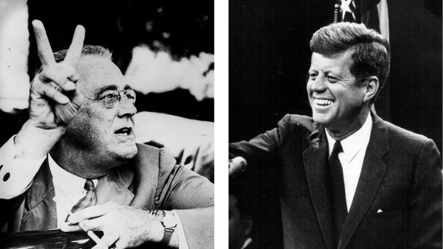 With the advent of radio and television, presidential charisma became a more important personality characteristic. Above, Franklin Delano Roosevelt, who is rated one of the most charismatic presidents; John F. Kennedy; Bill Clinton. (Getty Images)