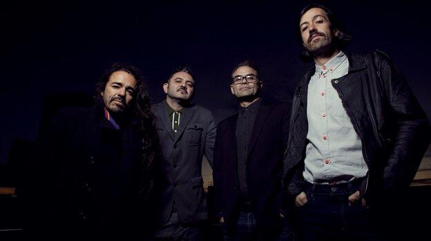 "Cafe Tacvba members Ruben Albarran, Enrique ""Quique"" Rangel Arroyo, Jose Alfredo Rangel Arroyo and Emmanuel ""Meme"" del Real Diaz."