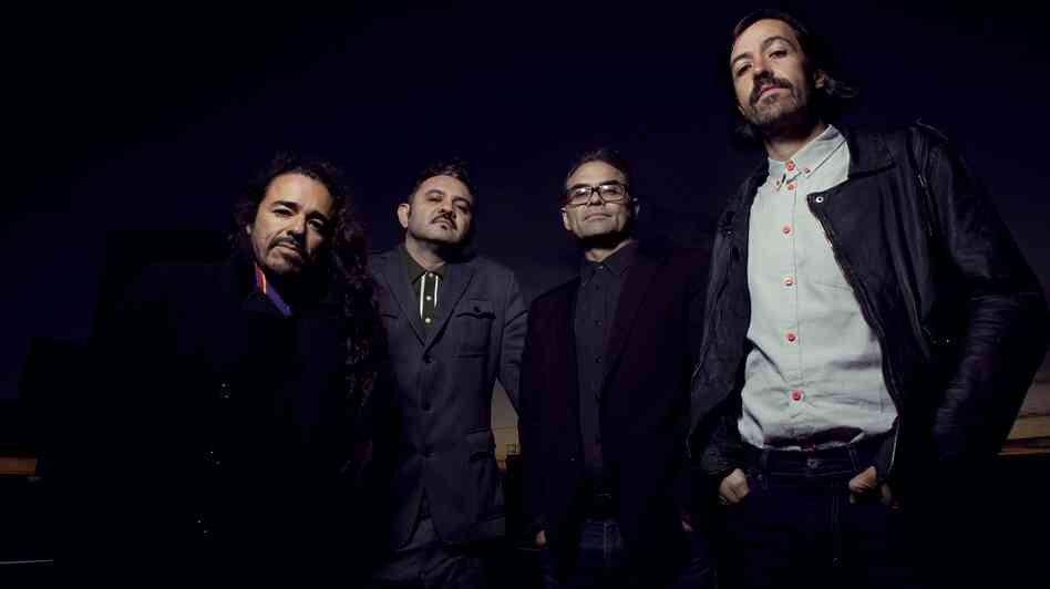 "Cafe Tacvba members Ruben Albarran, Enrique ""Quique"" Rangel Arroyo, Jose Alfredo Rangel Arroyo and Emmanuel ""Meme"" del Real Diaz."