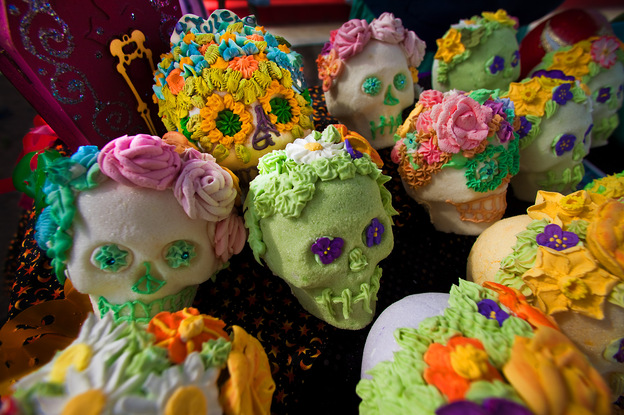 Sugar skulls: Elaborately decorated skulls are crafted from pure sugar and given to friends as gifts. The colorful designs represent the vitality of life and individual personality.