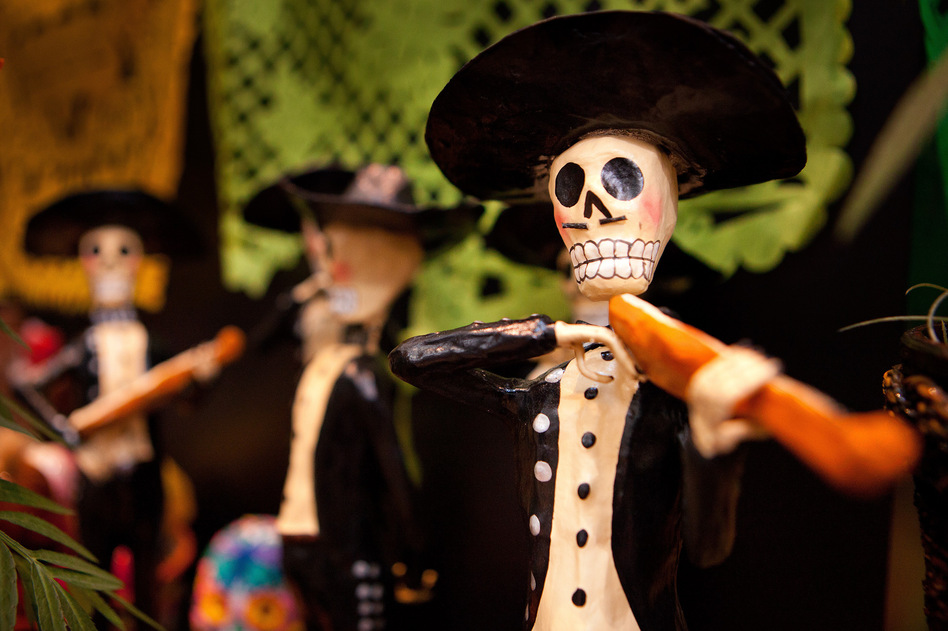 Skeletons: Skeleton imagery pervades this holiday. In pre-Columbian times, the Day of the Dead was celebrated in August. It now takes place on Nov. 1 and Nov. 2, coinciding with the Catholic holidays of All Saints' Day and All Souls' Day. (Karen Castillo Farfán/NPR)