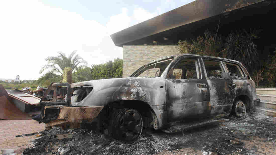 A burned vehicle outside the U.S. consulate in Benghazi, Libya, after the Sept. 11 attack.