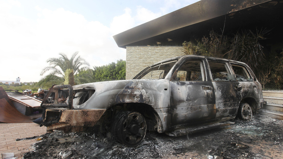 A burned vehicle outside the U.S. consulate in Benghazi, Libya, after the Sept. 11 attack. (Reuters /Landov)