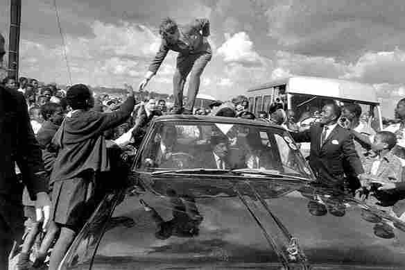 Robert Kennedy, younger brother of John F. Kennedy, visits Soweto in 1966.