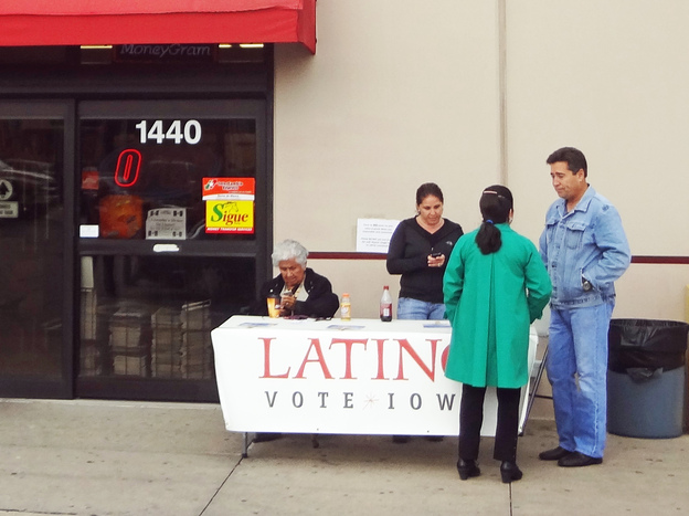 Satellite voting locations, like this one at a Latino grocery in Des Moines, Iowa, are designed to make early voting more convenient.