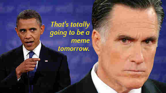 An Internet political meme featuring President Obama and Mitt Romney.