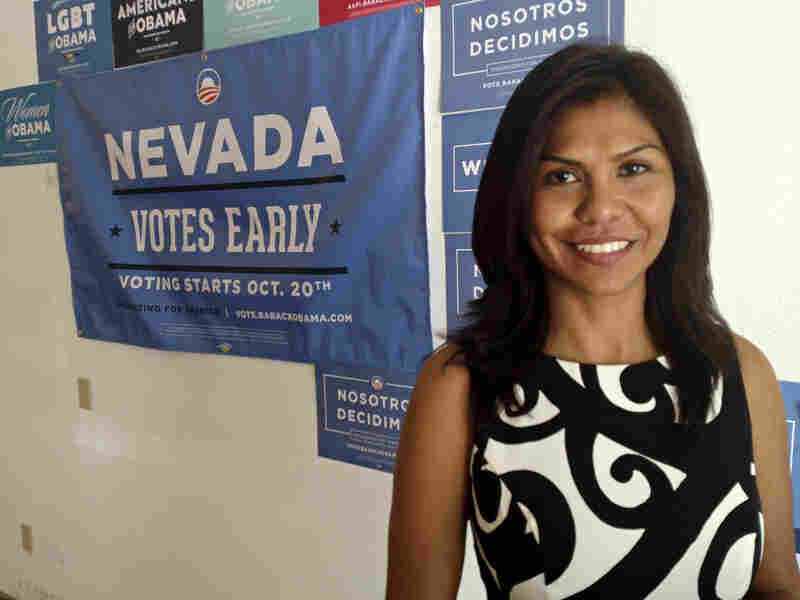 Adriana Ortiz, a Latino outreach volunteer for President Obama, in Las Vegas.