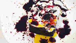 Blood Cake With Fried Egg, splattered with pig's blood for a spooky effect (NOT a serving suggestion)