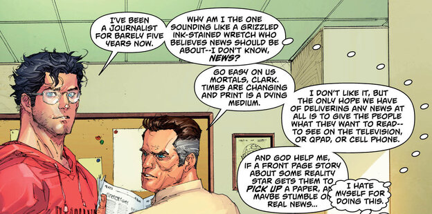 In Superman #13, Clark Kent gets his ink-stained kvetch on.