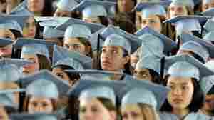 Barnard College graduates listen to President Barack Obama at commencement ceremonies on May 14, 2012.