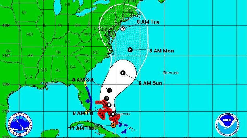 Hurricane Sandy's projected track as of 11 a.m. ET today (Thursday, Oct. 25). (National Hurricane Center)