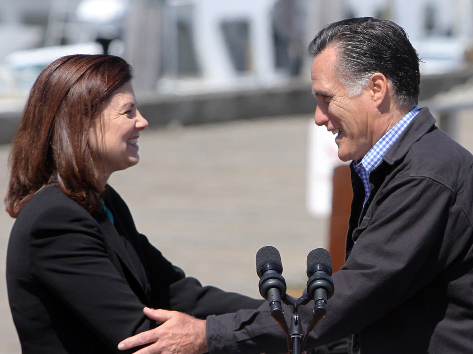 Sen. Kelly Ayotte, R-N.H., campaigns with Mitt Romney in Portsmouth, N.H., on April 30. (AP)