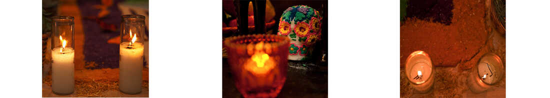 Candles light the pathway for the visiting spirits.