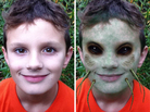 Before and after: The iMut8r app brings out the inner zombie in children of all ages.