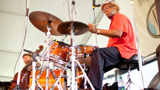 Drummer Lewis Nash performs at the 2012 Newport Jazz Festival. (Erik Jacobs for NPR)