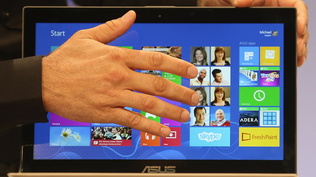 The Microsoft Windows 8 operating system is unveiled at a press conference on October 25 in New York City. (Getty Images)