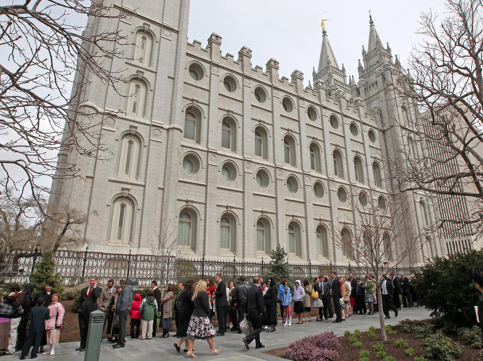 Mormons line up outside the historic Salt Lake Temple before the church's general conference in 2010. (Getty Images)