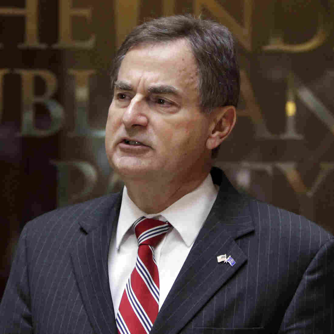 Indiana Republican Senate candidate Richard Mourdock holds a news conference Wednesday in Indianapolis to address his comments about rape and abortion.