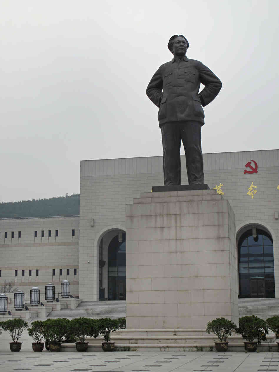 A statue of Mao — who spent 13 years in Yan'an building up support for the communist revolution — stands in front of the Yan'an Revolutionary Memorial Hall, which cost $80 million to build and opened in 2009.