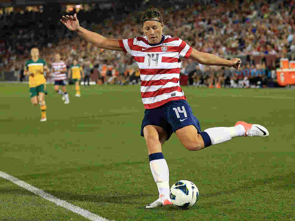Abby Wambach #14 of the U.S. strikes the ball against Australia at Dick's Sporting Goods Park on Sept. 19, 2012 in Commerce City, Colo.