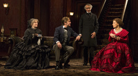 A revival of The Heiress, a 1947 play based on the Henry James novella Washington Square, opens at the Walter Kerr Theatre in New York on Nov. 1. It stars (from left) Judith Ivey, Dan Stevens, David Strathairn and Jessica Chastain.