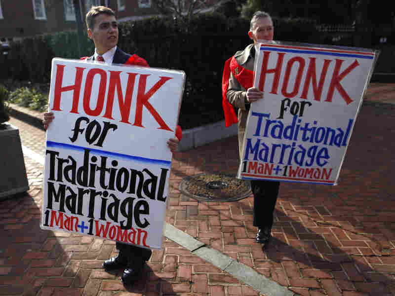 Zachariah Long (left) and Edward Ritchie protest against a gay-marriage bill in Annapolis, Md., on Feb. 17. The bill passed, but the issue is being put directly to Maryland voters on Nov. 6.