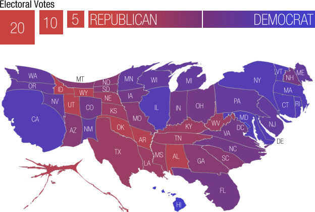 A Campaign Map Morphed By Money Its All Politics NPR - Electoral votes us map
