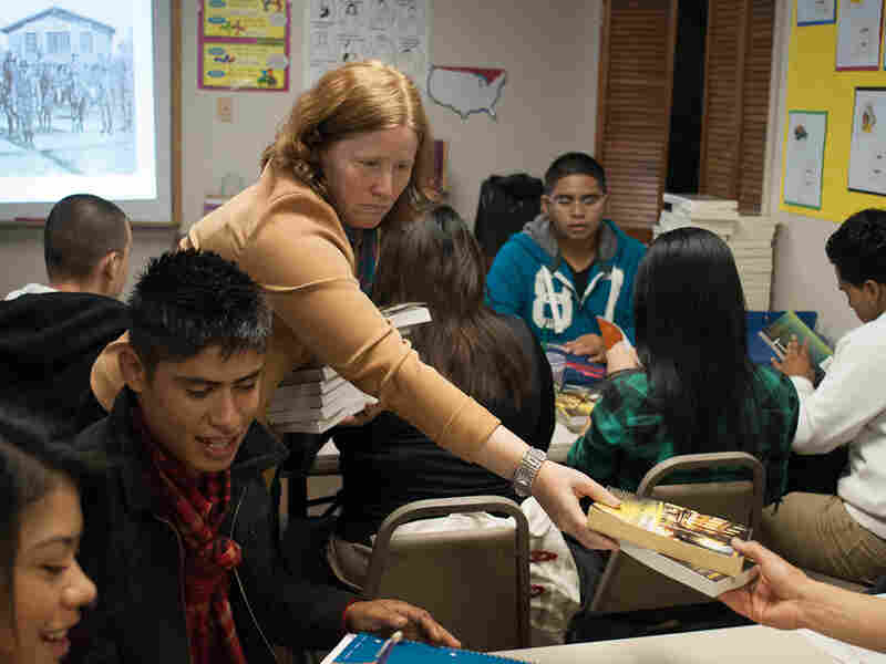 Pam Voekel is a volunteer teacher at Freedom University in Georgia, an informal school for undocumented youth who are banned from some state schools.