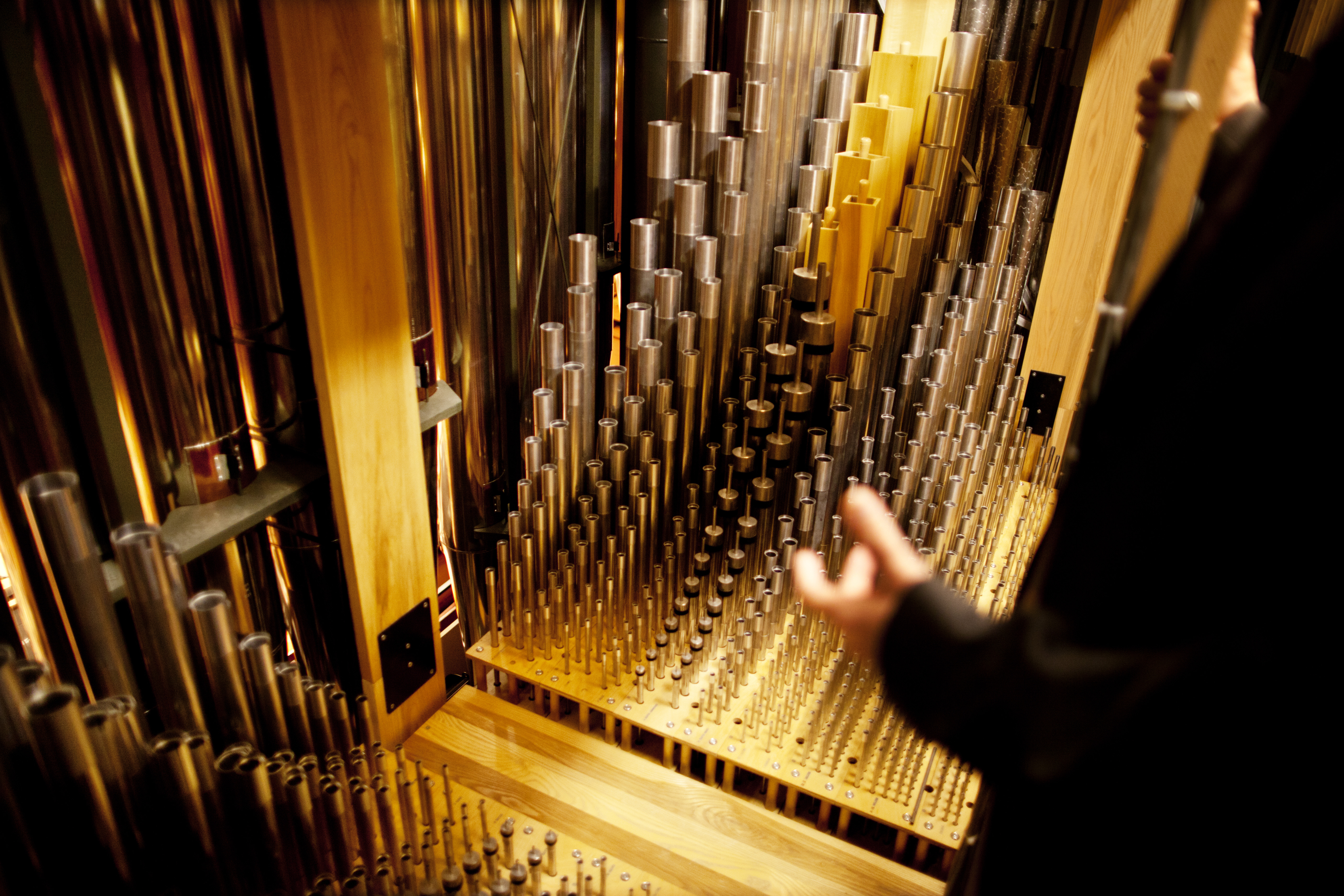 Pipes inside the organ chamber range from five-eighths of an inch to 32 feet long, with varying shapes and diameters. Each pipe is meticulously tuned to create the organ's unique tonality.