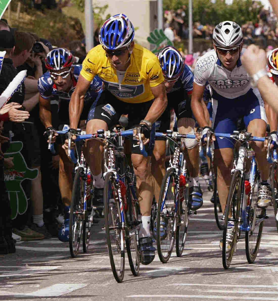 Lance Armstrong, in the yellow leader's jersey, during the 2002 Tour de France. Now, there's no winner of that race or the six others in which he finished first.